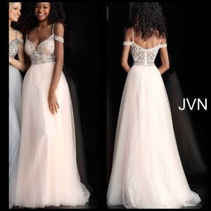 JVN62621 off the shoulder embellished bodice tulle
